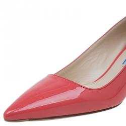 Prada Coral Patent Pointed Pumps Size 37