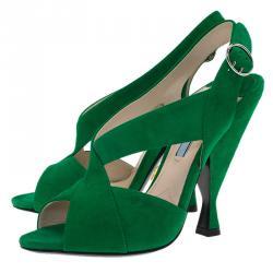 Prada Green Suede Criss Cross Open Toe Sandals Size 36.5