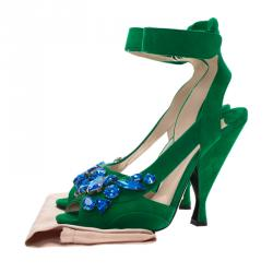 Prada Green Suede Jeweled Ankle Strap Sandals Size 39