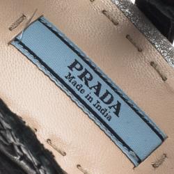 Prada Multicolor Woven Leather Strappy Pumps Size 39