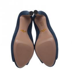 Prada Blue Suede Peep Toe Mules Size 37