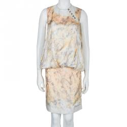 Proenza Schouler Drop Waist Printed Silk Sleeveless Dress M