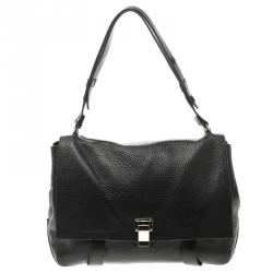 Proenza Schouler Black Leather Courier Satchel