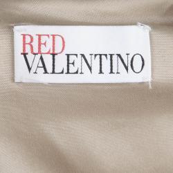 Red Valentino Beige Jacquard Bow Detail Sleeveless Dress S