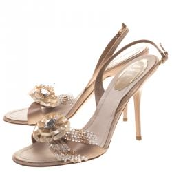 Rene Caovilla Beige Satin Floral Embellished Slingback Sandals Size 38