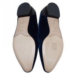 René Caovilla Blue Crystallized Velvet Smoking Slippers Size 37