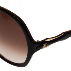 Roberto Cavalli Black Bougainvillea Square Sunglasses