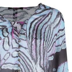 Roberto Cavalli Chiffon Butterfly Printed Top L