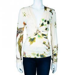 Roberto Cavalli White Multicolor Printed Long Sleeve Top L