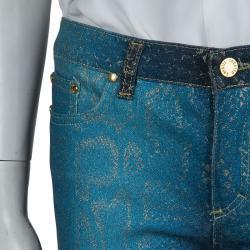 Roberto Cavalli Electric Blue Glitter Snake Print Boot Cut Jeans XS
