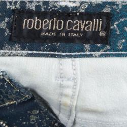 Roberto Cavalli Electric Blue Glitter Snake Print Boot Cut Jeans S
