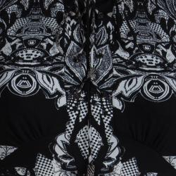 Roberto Cavalli Monochrome Silk Printed Top S