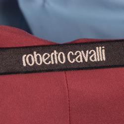 Roberto Cavalli Red Floral Printed Silk Ruffle Detail Dress M