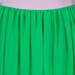 Roksanda Ilincic Neon Green and Pink Paneled Maxi Skirt M