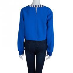 Roksanda Ilincic Blue Oversized Long Sleeve Crop Top L