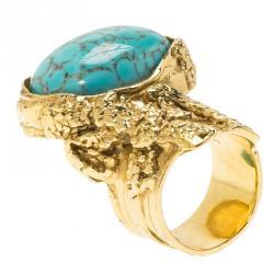 Saint Laurent Paris Arty Turquoise Glass Cabochon Gold Tone Ring Size 54.5