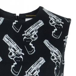 Saint Laurent Paris Gun Print Sleeveless Shift Dress S