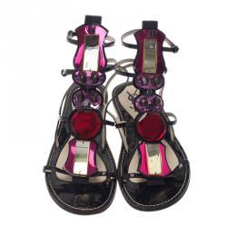 Saint Laurent Paris Multicolor Embellished Flat Sandals Size 38