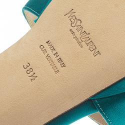 Saint Laurent Paris Turquoise Satin Tribute Cross Strap Platform Sandals Size 38.5