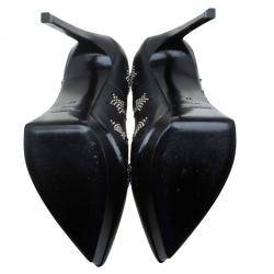 Saint Laurent Paris Black Studded Star Leather Platform Pumps Size 37