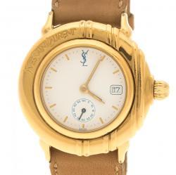 Saint Laurent Paris White Gold Tone Women's Wristwatch 32 mm