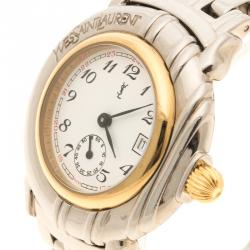 Saint Laurent Paris White Gold Plated Women's Wristwatch 32 mm