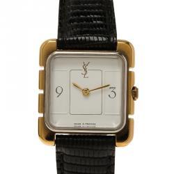 Saint Laurent Paris White Gold-Plated Steel Women's Wristwatch 22MM