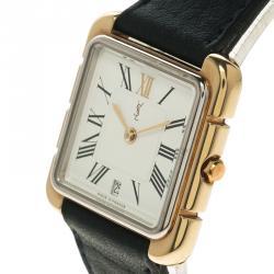 Saint Laurent Paris White Gold-Plated Steel Women's Wristwatch 27MM