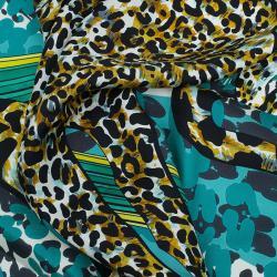Salvatore Ferragamo Blue Silk Leopard Print Scarf