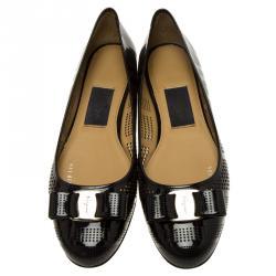 Salvatore Ferragamo Black Patent Perforated Leather Varina Ballet Flats Size 41