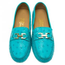 Salvatore Ferragamo Turquoise Ostrich Leather Saba Loafers Size 41.5