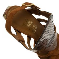 Salvatore Ferragamo Tricolor Suede and Python Laos Strappy Sandals Size 39.5