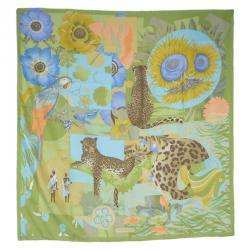 Salvatore Ferragamo Green Silk Leopards in Garden Print Square Scarf