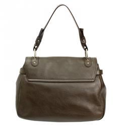 Salvatore Ferragamo Khaki Leather Shoulder Bag