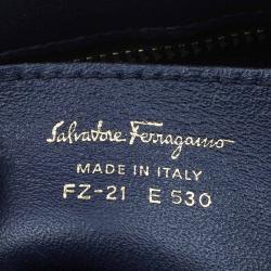 Salvatore Ferragamo Navy Blue Leather and Suede Medium Sofia Top Handle Bag