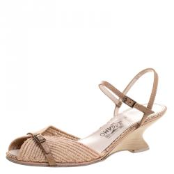 f57621a905c2 Salvatore Ferragamo Beige Raffia and Leather Ankle Strap Wedge Sandals Size  39