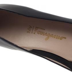 Salvatore Ferragamo Black Leather My Wings 55 Wedge Pumps Size 39