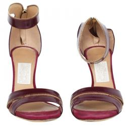 2339bdb6e6c8 Salvatore Ferragamo Burgundy Leather Ronette Ankle Strap Sandals Size 39