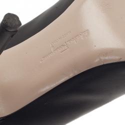Salvatore Ferragamo Black Leather Fiberia Peep Toe Pumps Size 40