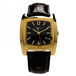Salvatore Ferragamo Black Gold-Plated Stainless Steel Classic Women's Wristwatch 38MM