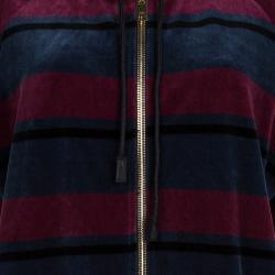 Sonia Rykiel Multicolor Striped Velvet Short Sleeve Hoodie XL