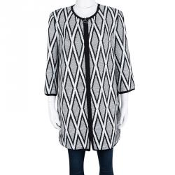 St. John Monochrome Diamond Patterned Textured Long Jacket S