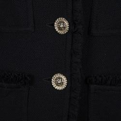 St. John Caviar Black Textured Knit Fringed Edge Overcoat M