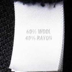 St. John Caviar Black Textured Knit Fringed Edge Overcoat M