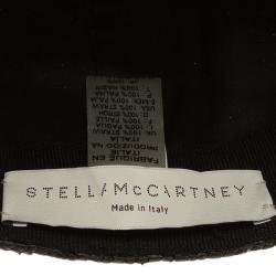 Stella McCartney Black Straw and Faux Python Baseball Cap Size 57