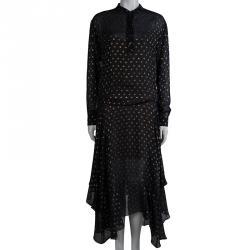 Stella McCartney Black Gold Dot Maxi Dress S