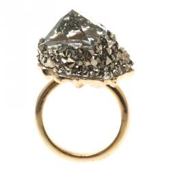 Swarovski Grey Crystal Gold Tone Ring Size 52