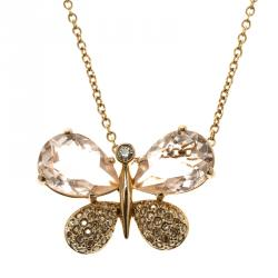 Swarovski Butterfly Crystal Studded Gold Tone Pendant Necklace