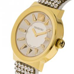 Swarovski Silver Gold-Plated Stainless Steel Crystal Piazza Mesh Women's Wristwatch 36MM