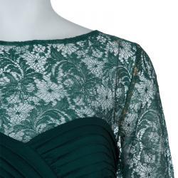 Tadashi Shoji Green Lace Gown L